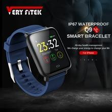 Reloj inteligente Q9 para hombre y mujer, dispositivo resistente al agua IP67, con control del ritmo cardíaco y de la presión sanguínea, envío directo