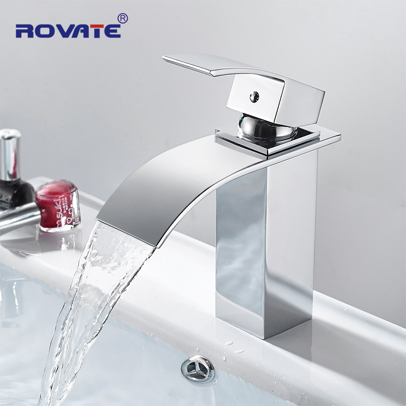 ROVATE Bathroom Waterfall Basin Faucet Brass Deck Mounted Single Hole Wide Spout Cold and Hot Mixer