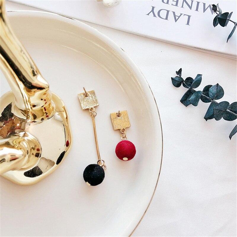 Ajojewel Simple Acrylic Geometric Earrings Women Velvet Ball Asymmetrical Earrings Jewellery Wholesale 6