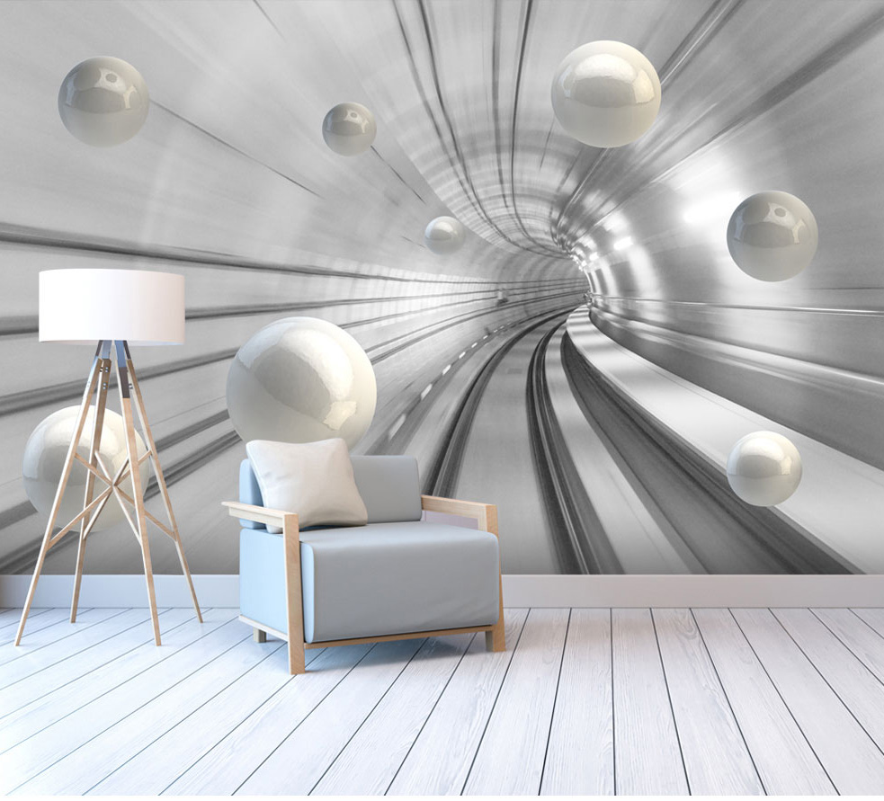 Abstract Tunnel Space Sphere 3d Wallpaper Murals for Hall Living Room 3D Space Mural 3d Wall Mural Wall paper Large mural large photo wallpaper bridge over sea blue sky 3d room modern wall paper for walls 3d livingroom mural rolls papel de parede