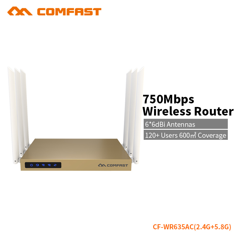 COMFAST WIFI Router 750Mbps 5.8G + 2.4G Dual Band WiFi Wireless Routers 6*6dBi Antennas Hight Power Access Point CF-WR635AC 2016 comfast full gigabit ac authentication gateway routing mt7621 cf ac100 880mhz core gateway wifi project manage routers
