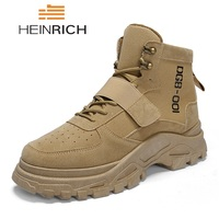 HEINRICH Man Boots Shoes Fashion Military Boots Mens Breathable Ankle Boots Men Desert Combat Boots Work Shoes Botines Hombre