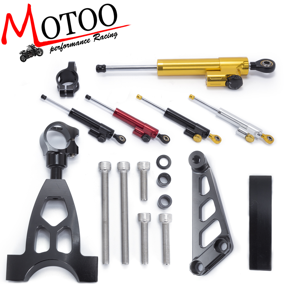 Motoo - Motorcycle CNC Damper Steering StabilizerLinear Reversed Safety Control+Bracket For Honda CB400 VTEC 1999-2010 cnc steering damper stabilizer linear reversed safety control & adapter bracket for honda cb400 cb 400 vtec 1999 2000 2001 2012