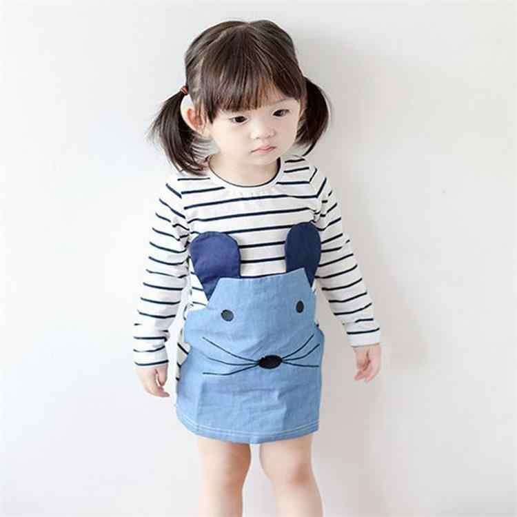 Striped Patchwork Character Girl Dresses Long Sleeve Cute Mouse Children Clothing Kids Girls Dress Denim Kids Clothes