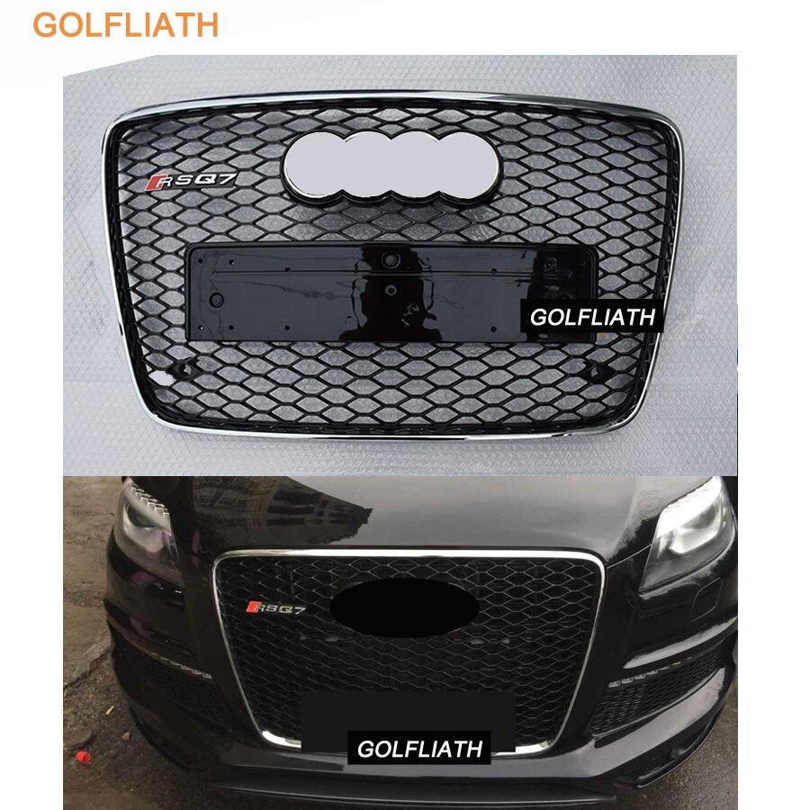 RSQ7 Style Noir/Chrome Pare-chocs Avant Mesh Grille Grill Garde Pour Audi Q7 2006-2015