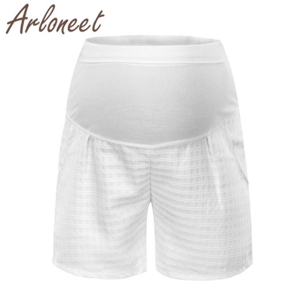 ARLONEET Clothes Sexy women maternity   shorts   High waist Plaid Sports   shorts   2019 Summer ladies pregnancy Jeans Casual clothes