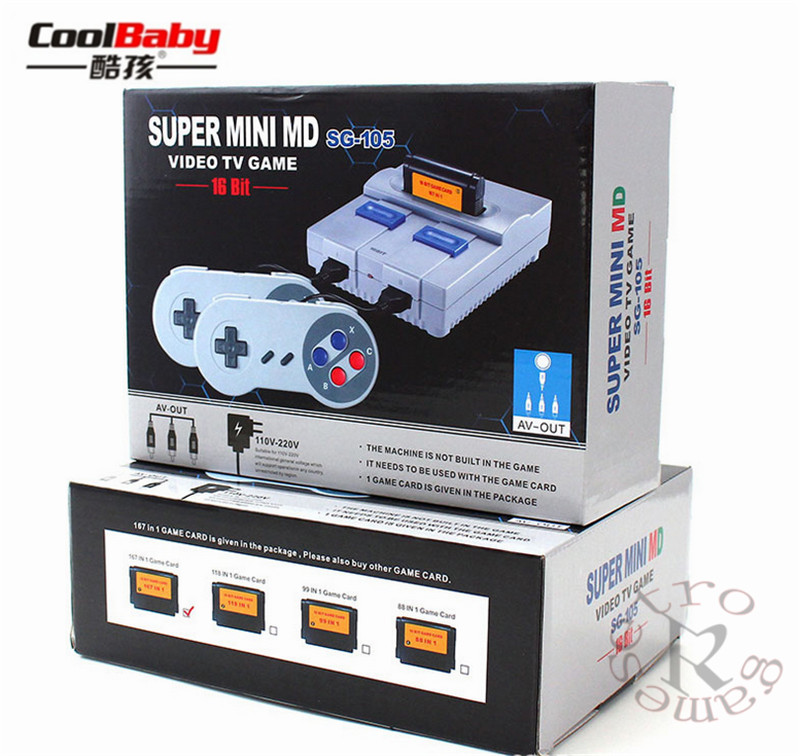 2018 SPUER mini MD16 SG-105 16BIT AV output family games TV video game console with free 167 sega games can insert games card