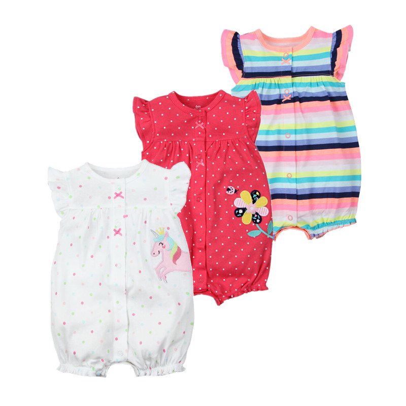 Brand 2018 Summer Baby Rompers Short Sleeve Baby Girls Clothing Kids Jumpsuits Newborn Baby Boy Clothes Roupas vestidos
