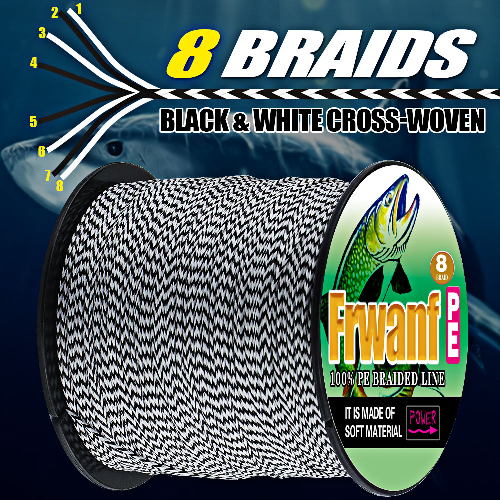 Frwanf 100M 150LB  8X FISHING Brand Super Strong Japan Multifilament PE Braided Fishing Line 8 Strand 0.8mm Black&white  Braided