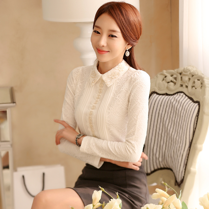 2019 autumn and winter lace women tops and blouses solid floral female shirts long sleeved elegant ladies feminine blusa 812B 45