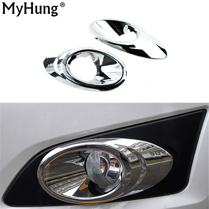 Chrome Front Head Fog Lamp Light Cover For Chevrolet AVEO Hatchback Sedan 2011-2014 2pcs Per Set nicecnc cnc billet kit brake reservoir