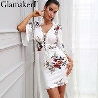 Glamaker Floral Print Lace Up Dress Women Sexy Deep V Neck Mini Dress Boho White Women