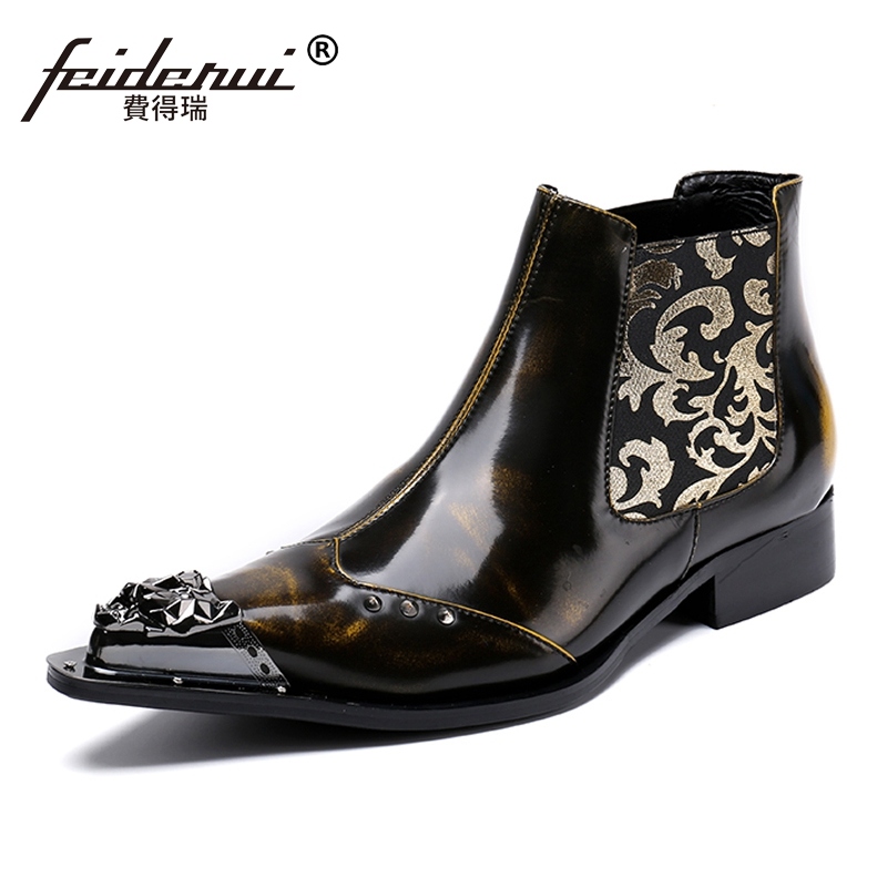 Plus Size Vintage Man Handmade Pointed Toe Metal Tipped Shoes Luxury Genuine Leather Men's Punk Rock Chelsea Ankle Boots SL55 plus size vintage pointed toe man metal tipped martin shoes handmade designer genuine leather men s punk rocker ankle boots sl18