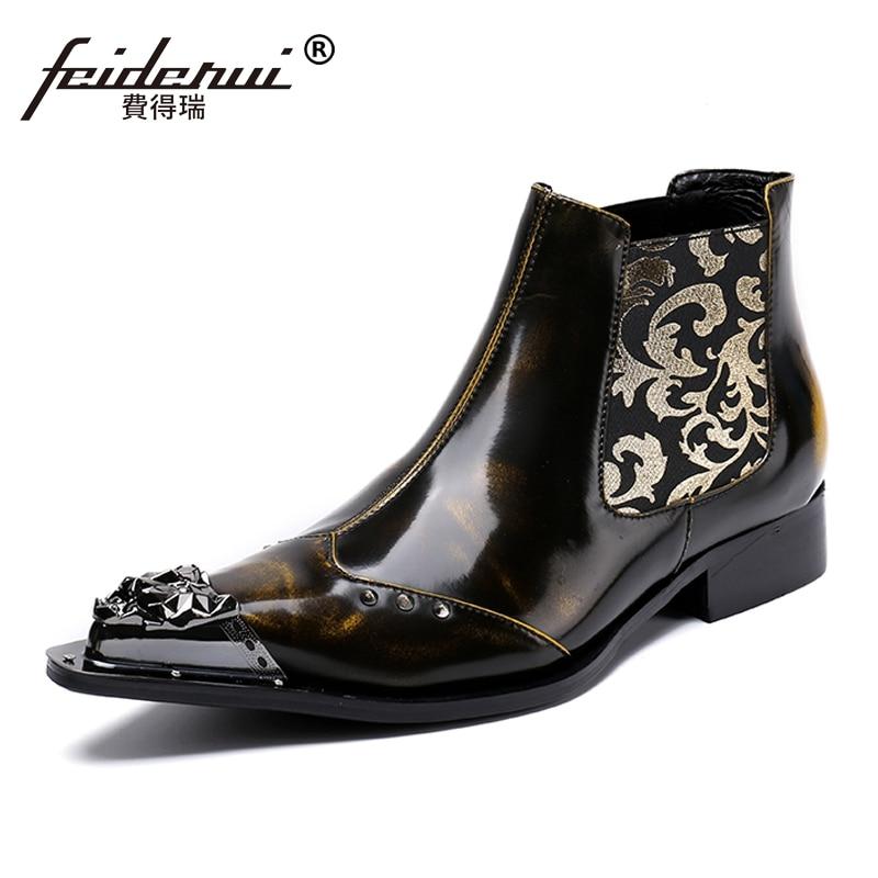 Здесь продается  Plus Size Vintage Man Handmade Pointed Toe Metal Tipped Shoes Luxury Genuine Leather Men