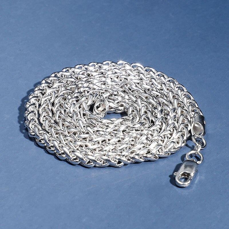 S925 argent Sterling Spiga tresse chaîne collier 4mm quille corde chaîne hommes femmes bijoux accessoires