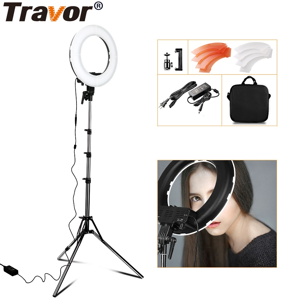 Travor LED Ring Light For Camera Photo/Studio/Phone/Video 12 42W 5500K Photography Dimmable Ring Lamp For Make-up Photo fotopal 55w 5500k daylight led ring light lamp for photography camera phone video photo make up selfie light annular lamp
