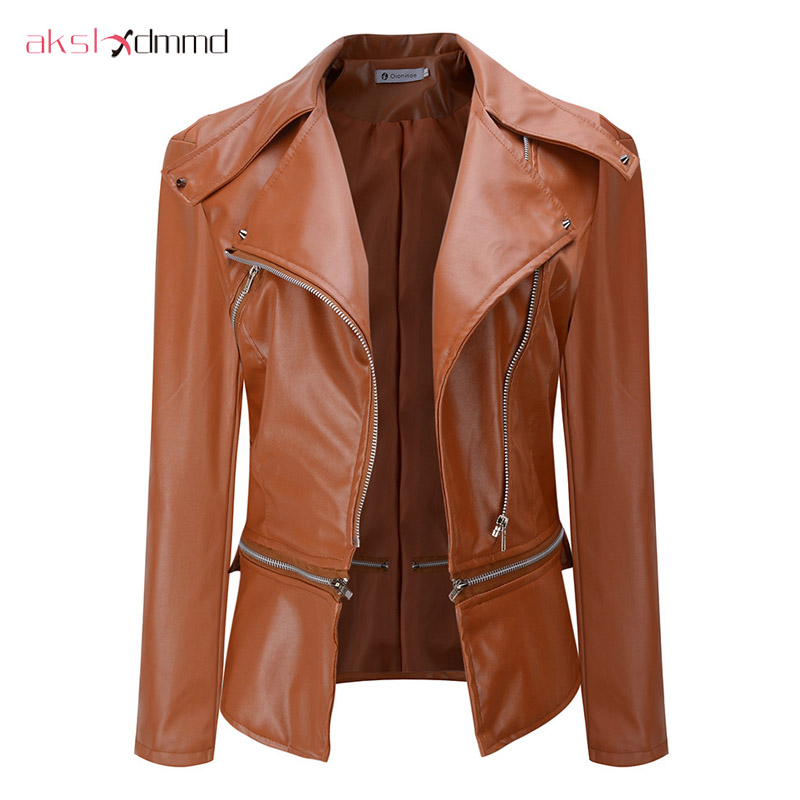 AKSLXDMMD Women Jacket Spring Fashion Short Slim PU   Leather   Coat Zipper Autumn Tops Overcoat Black Outwear Gothics Jackets YR083