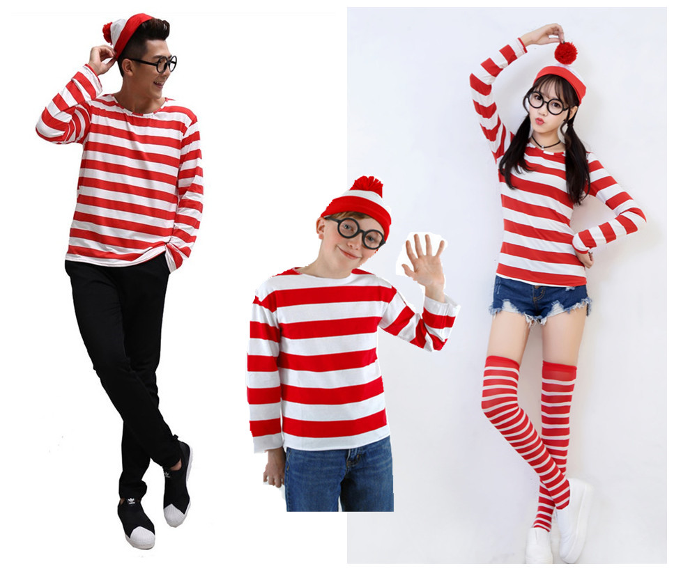 Cartoon Where is Wally Costume men/women fancy shirt children's Halloween cheering costume with hat any size Free shipping