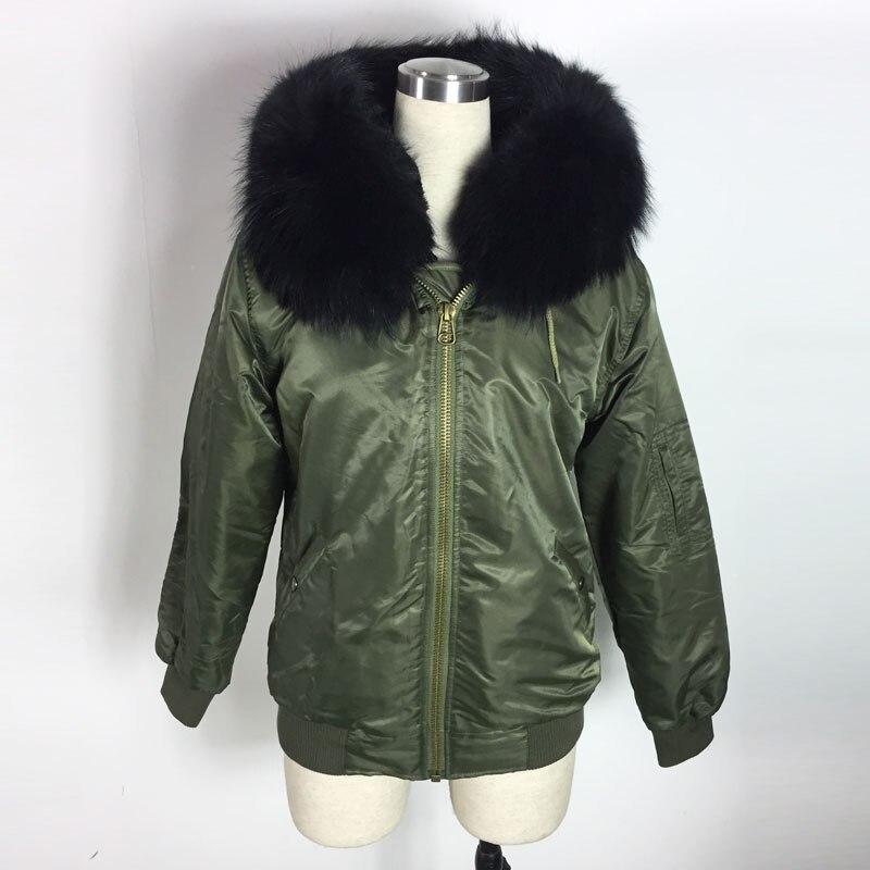 Water Proof Bombers Black Faux Fur Bomber Jacket Winter Spring big Raccoon Collar Bombers