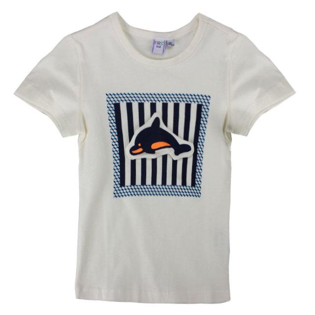 Firs niños delicados 2016 niños del verano del muchacho niños de algodón estrella Camisetas de Manga corta O Cuello de la Camiseta Camisetas niños t shirt-5
