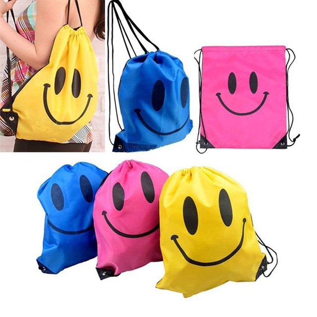 Fashion Smile Face Drawstring Bag Children Shopping Bags Mochila Bags For Girls And Boys Cartoon Kids Backpack Waterproof(China)