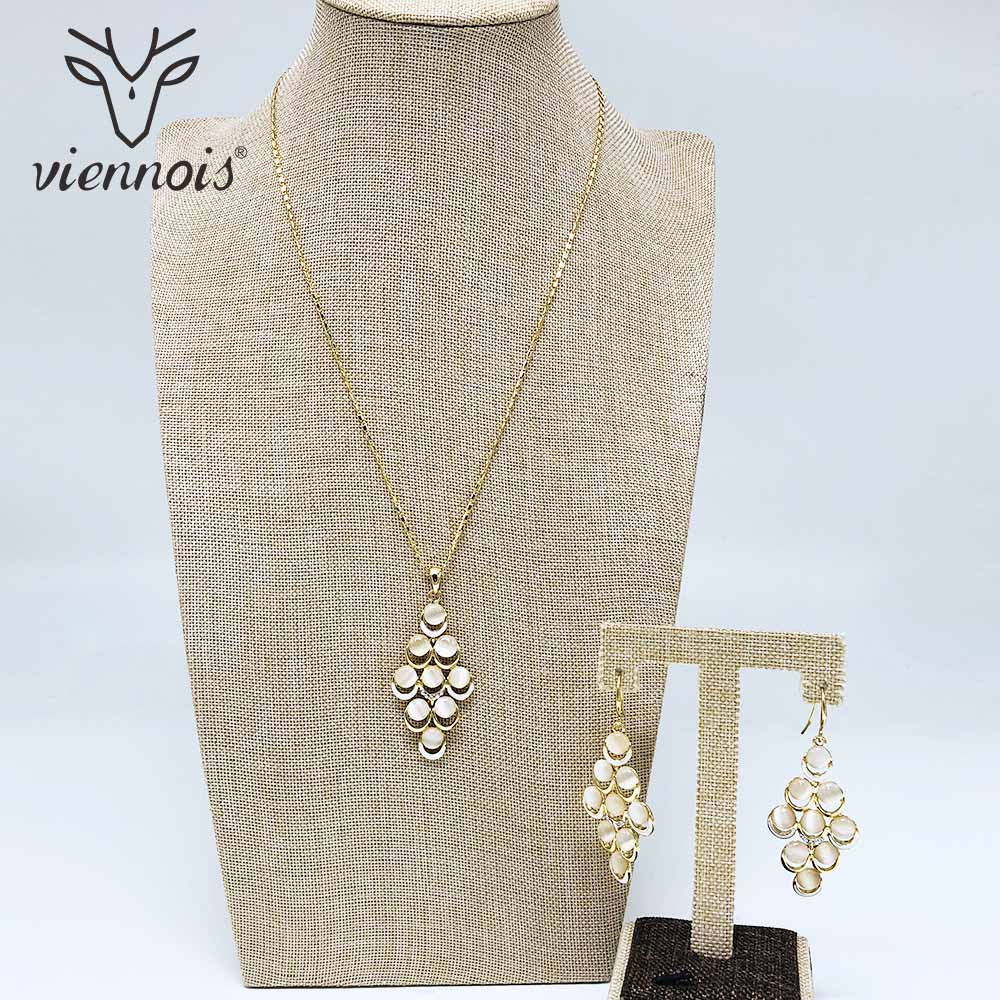 Viennois Gold Colo Earrings Necklace Set For Women Geometric Pendent Necklacesl Wedding Party Jewelry 2019