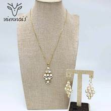 Viennois Gold Colo Earrings Necklace Set For Women Geometric Pendent Necklacesl Wedding Party Jewelry 2019 недорого