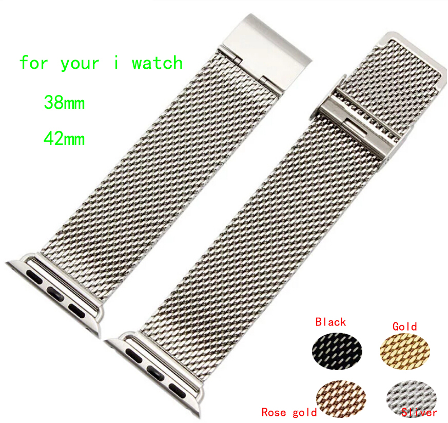 38mm 42mm Watch Strap Silver Shark Mesh Chainmail STAINLESS STEEL Mens Ladies Bracelet For i watch