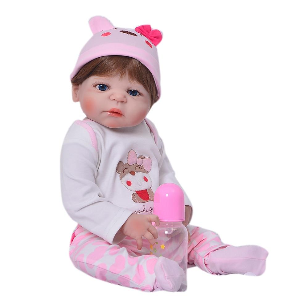 """KEIUMI 도매 Reborn 소녀 인형 23 """"57 cm 소녀 정말 현실적인 아기 인형 장난감 전체 실리콘 바디 방수 아이 Playmates-에서인형부터 완구 & 취미 의  그룹 2"""