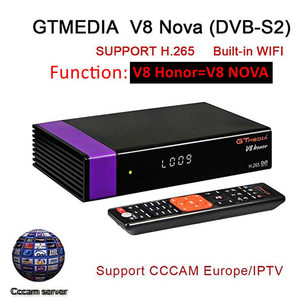 GT MEDIA V8 Honor DVB-S2 Freesat Satellite TV récepteur ale décodeur prise en charge PowerVu Biss clé Newca CCCAM Youtube IPTV violet V8