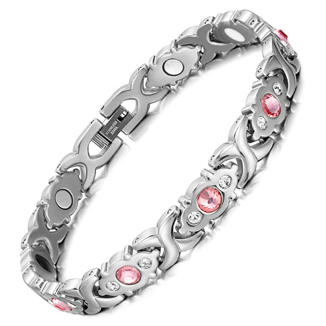 RainSo Female Bracelet Shiny crystal Stainless Steel Fashion Health Jewelry Magnetic Bracelets for Women Charm Chain & Link