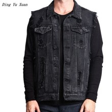Mens Hip Hop Denim Waistcoat Vests Men Black Blue Ripped Jeans Vest Male Sleeveless Biker Jacket Spring Autumn