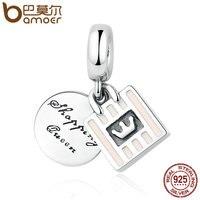 BAMOER 925 Sterling Silver Shopping Queen Soft Pink Enamel Handbag Charm Charms Fit Women Bracelets Necklace