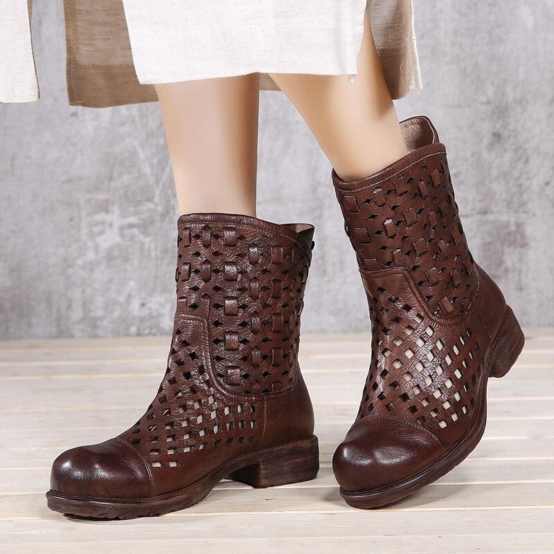 2019 VALLU Cool รองเท้ารองเท้าผู้หญิงรองเท้าหนังแท้ Hollow Out Square รองเท้าส้นสูงบนกลางลูกวัวรองเท้าผู้หญิงฤดูร้อนรองเท้ารองเท้าแตะ-ใน รองเท้าบู๊ทครึ่งน่อง จาก รองเท้า บน   1