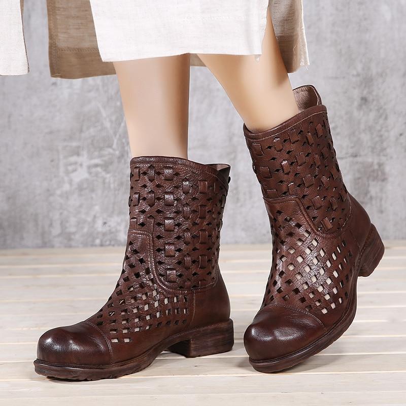 Ayakk.'ten Diz Altı Çizmeler'de 2019 VALLU Serin Bot Ayakkabı Kadın Hakiki Deri Hollow Out Kare Düşük Topuklar Üzerinde Kayma Orta Buzağı Çizmeler Bayanlar Yaz ayakkabı Sandalet'da  Grup 1