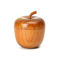1 Pcs Wood Round Salad Bowl With Cover Handmade Creative Apple shape Fruit Rice Noodles Bowl for Children Kitchen Tableware