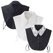 Vintage Women's Fake Lace Shirt Blouse Peter Pan Detachable Collar Tie three Colors