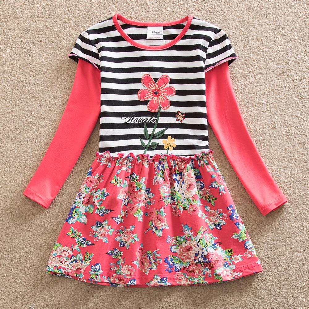 afc4cefa68f NETTE groothandel nieuwe baby meisje kleding bloem patroon jurk meisjes  jurken kinderkleding Lange mouwen jurk kinderkleding LH6609 # in NETTE  groothandel ...