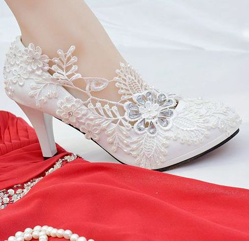8.5cm heel platforms ivory lace wedding shoes woman plus sizes 41 42 luxury european style crystal bridal party wedding shoes extra large plus sizes 41 42 43 flats wedding lace shoes womens female woman bridal flat heel wedding flats shoes large sizes