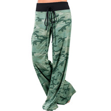 Women Green Camouflage Print Wide Leg Pants Loose Mid Waist Straight Trousers Long Female Trousers Comfortable Casual Bottoms(China)