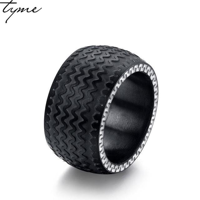 TYME 2017 New fashion 13MM Titanium steel Tyre ring rubber ring ...