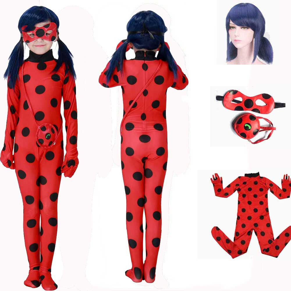 Girls Ladybug Marinette Costume Lady Bug Jumpsuit Red Spandex Lycra Zentai Suit Girls Halloween Fancy Dress Costume