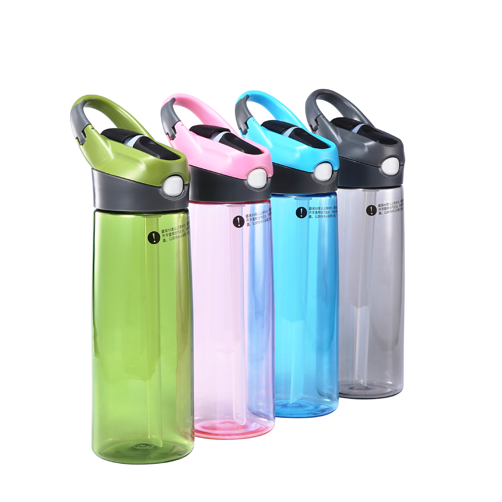 BPA FREE hot sale summer cool outdoor sports straw bottle protable Bicycle my water single hand kettle with hook lid
