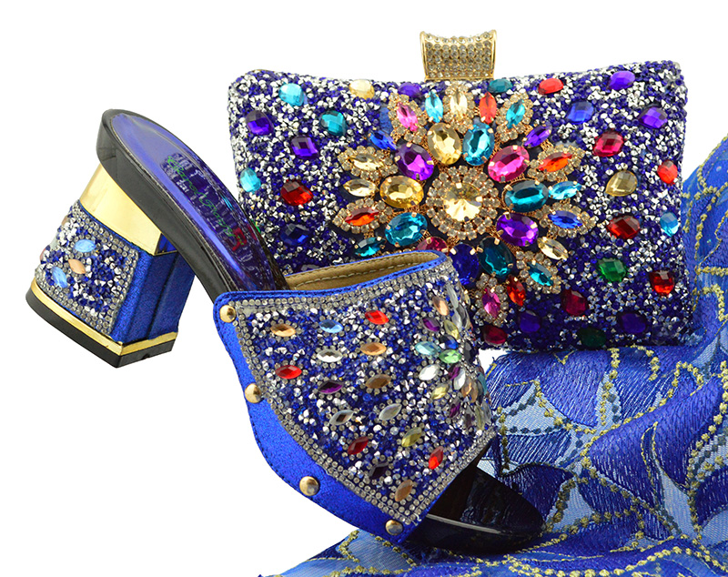 Royal Blue Shoes and Bag Sets for Women Italian Shoes with Matching Bags for Women African Shoes and Bag Set for Party In FTG004 yh01 hot sale african matching shoes and bag with stone fashion dress shoes and bags free shipping