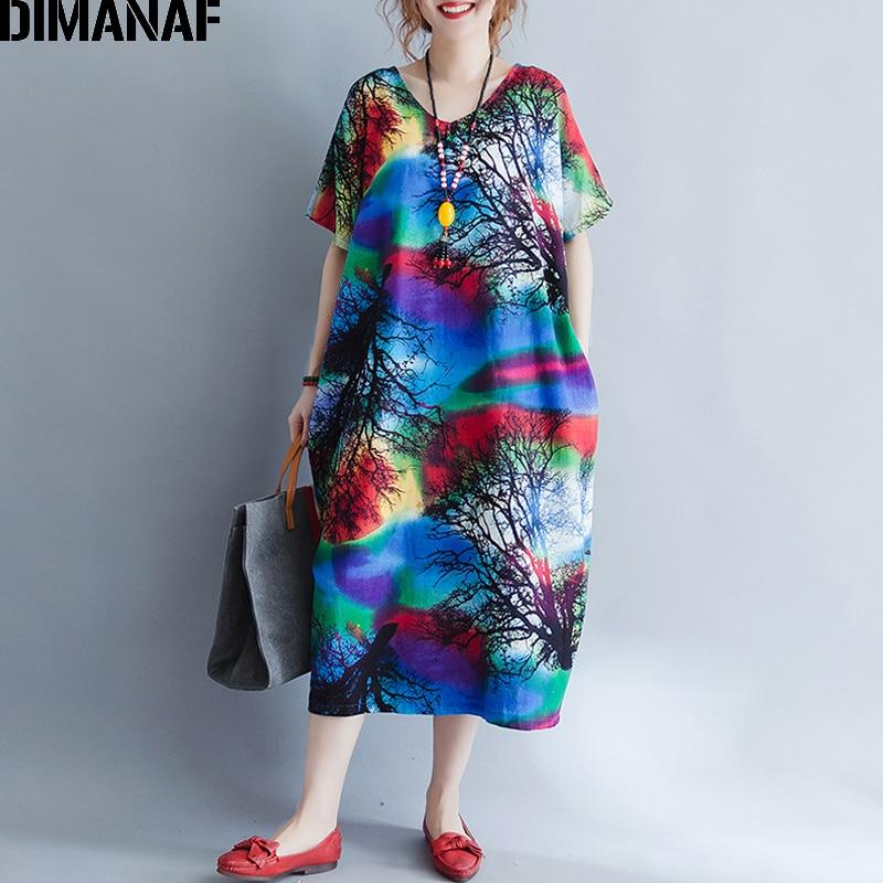 63acfcb01 DIMANAF Mulheres Verão Vestido Plus Size Vestido de Verão Casual Imprimir  Pintado Femme Senhora Elegantes Vestidos Soltos Grandes Vestidos de Roupas  Longas
