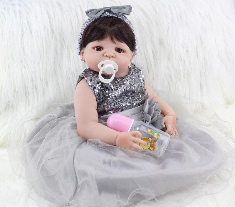 Полный силиконовые Средства ухода за кожей Reborn Baby Doll Игрушечные лошадки реалистичными 55 см принцессы для новорожденных девочек младенцев к...