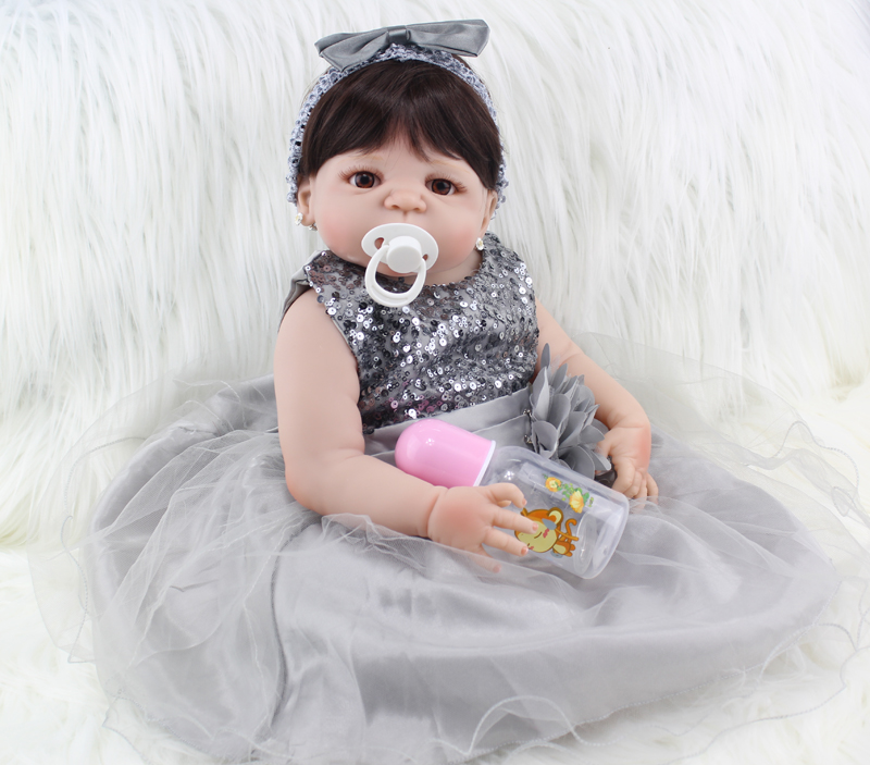 Full Silicone Body Reborn Baby Doll Toys Lifelike 55cm Princess Newborn Girl Babies Doll Birthday Gift Bathe Toy Girls Brinquedo 50cm full silicone body reborn princess babies doll toys newborn baby doll lovely kids birthday gift bathe toy girls brinquedos