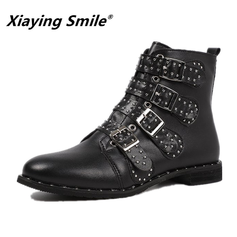 Xiaying Smile Newest Style Women Motorcycle Boots Autumn/Winter Fashion Shoes Ladies Solid Crystal Fleeces Zip Warm Boots Shoes xiaying smile spring autumn winter style woman shoes casual fashion cool increased internal shoes slip on rubber women shoes