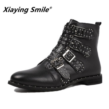 Xiaying Smile Newest Style Women Motorcycle Boots Autumn/Winter Fashion Shoes Ladies Solid Crystal Fleeces Zip Warm Boots Shoes