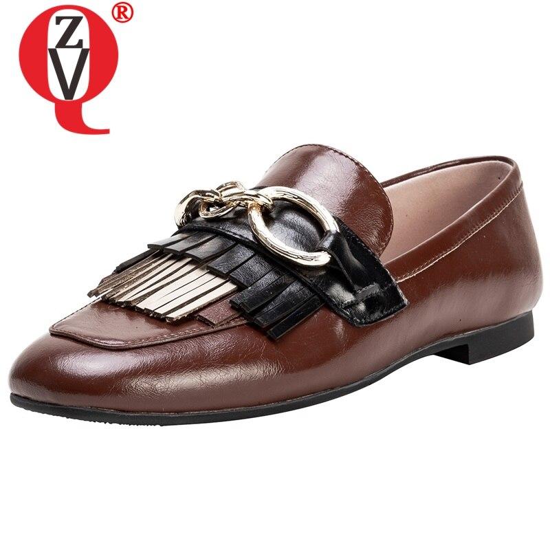 ZVQ décontracté chaussures plates bout rond en métal décoration printemps nouveau style chaussures femme à l'extérieur chaussures de marche mocassins femmes